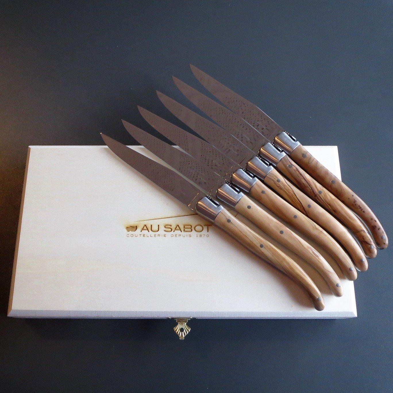 Steakmesser mit glatter Klinge und Olivenholzbacken